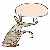 cartoon sneaky rat with speech bubble in retro texture style poster