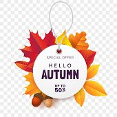 White Round Price Tag Against The Background Of Fallen Autumn Foliage. Label For Fall Sale Isolated  poster