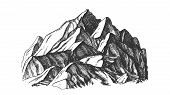 Peak Of Mountain Crag Landscape Hand Drawn . High Altitude Mountain Place For Extreme Sport Alpinism poster