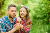 Father And Little Girl Enjoy Summertime. Dad And Daughter Collecting Dandelion Flowers. Keep Allergi poster