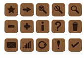 wooden icons set