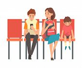 Family Waiting At Airport Terminal For Flight, Mother With Two Sons Sitting On Chairs At Waiting Roo poster