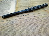 picture of piccolo  - The US Declaration of Independence with an antique piccolo  - JPG