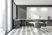 Panoramic Gray And White Kitchen With Round Table poster
