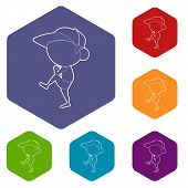 Throwing Player Icon. Outline Illustration Of Throwing Player Vector Icon For Web poster
