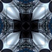 Seamless Symmetrical Pattern Abstract Futuristic Structure Texture poster