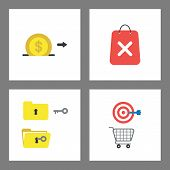 Vector Icon Concept Set. Dollar Coin Into Moneybox Hole, Shopping Bag And X Mark, Key Opened Folder, poster