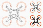 Mesh Mortal Drone Model With Triangle Mosaic Icon. Wire Frame Triangular Mesh Of Mortal Drone. Vecto poster