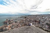 View From A Hilltop On The Port City In The South-east Of Spain. Alicante, Costa Blanca Coast, Spain poster