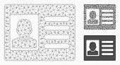 Mesh User Account Model With Triangle Mosaic Icon. Wire Frame Polygonal Mesh Of User Account. Vector poster