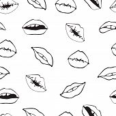 Lips Seamless Pattern. Cosmetics And Makeup Seamless Pattern. Closeup Beautiful Lips Of Woman With R poster