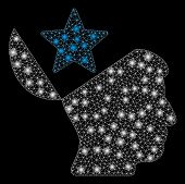 Glowing Mesh Open Head Star With Glitter Effect. Abstract Illuminated Model Of Open Head Star Icon.  poster