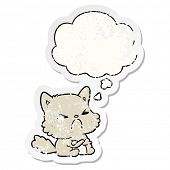 cartoon angry cat with thought bubble as a distressed worn sticker poster