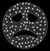 Glowing Mesh Sadness Smiley With Sparkle Effect. Abstract Illuminated Model Of Sadness Smiley Icon.  poster