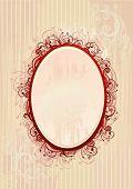 Vector Illustration Of Romantic Oval Frame