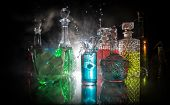 Collection Of Colorful Shots With Lemon On Bar; Set Of Alcohol Mini Cocktail Shooters With Lime; poster