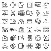 Firewall Icons Set. Outline Set Of Firewall Icons For Web Design Isolated On White Background poster