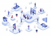 Isometric Work Team. Cloud Workplaces Platforms, Modern Teams Workflow Process And Development Compa poster