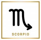 Zodiac Sign Scorpio. Horoscope. Isolated Black Icon On The White Background With Golden Inscription. poster