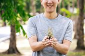 Cropped Young Happy Asian Male Volunteer With Smile Holding A Small Little Tree Ready To Be Potting  poster