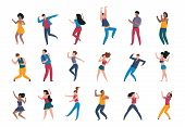 Dancing People. Trendy Party Cartoon Crowd, Modern Young Dancing Characters, Friends Couples And Hap poster
