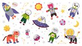 Space Animal Kids. Cartoon Baby Characters In Space Costumes With Rocket Planet And Stars. Vector Cu poster