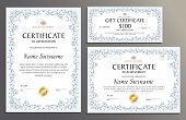 Certificate Template Set Floral, Horizontal, Vertical, Gift Voucher, Diploma, Vintage Border poster