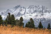 Beautiful Dramatic Scenic Snowy Mountain Peak Autumn Landscape. Agepsta Peak, Caucasus Mountains, So poster