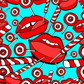 Vector Red, Bright Pink Womans Lips Seamless Pattern. Cosmetics And Makeup Lips Characters, Kiss, Ha poster