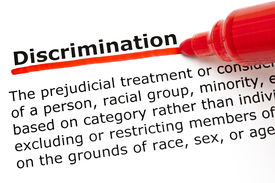 image of segregation  - Definition of the word Discrimination underlined with red marker on white paper - JPG