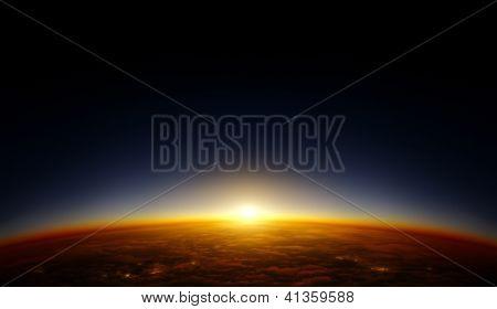 Постер, плакат: Иллюстрация планеты смотреть с орбиты в пространстве с заходом солнца за горизонт Континент, холст на подрамнике