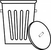 Garbage Can With Lid Outline.