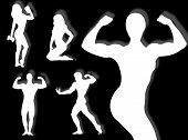 image of body builder  - Body builder silhouette in different poses and attitudes - JPG