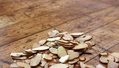 Old wood table with slivered almonds