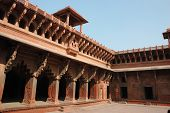 Beautiful Ornate Galleries Inside Agra Fort,famous Landmark And Unesco Heritage Site,India poster