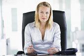 Empresaria sentado en la oficina con Organizador Personal