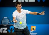 MELBOURNE - JANUARY 15: Bernard Tomic of Australia in his first round win over Leonardo Mayer  of Argentina at the 2013 Australian Open on January 15, 2013 in Melbourne, Australia.