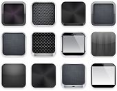 Vector illustration of black high-detailed apps icon set. Eps10.