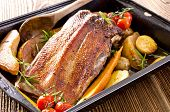 picture of barbary duck  - roasted goose breast with apples - JPG