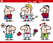 pic of broken heart flower  - Cartoon Illustration of Happy Men Valentines Day or Love Themes with Heart Valentine Cards Cupid with Bow and Arrow - JPG