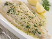 Whole Lemon Sole Meuniere With Lemon And Parsley Garnish