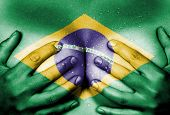 stock photo of nudity  - Sweaty upper part of female body hands covering breasts flag of Brazil - JPG