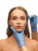 picture of scalpels  - picture of woman face and beautician hands with scalpel - JPG