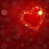 Festive Red Abstract Background With Glowing Heart And Space For Text