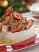 Meringue Nests Filled With A Sweet Chestnut Cream And Strawberries