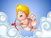 Funny little cupid in the clouds