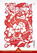 Traditional Chinese Paper Cutting For The Year of Snake. Translation: Auspicious Year of Snake