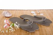 picture of spank  - Spa or hotel flip flops on a bamboo mat - JPG