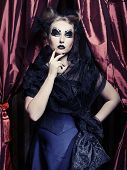 Dark Beautiful Gothic Princess.Halloween party.