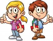 School kids. Vector clip art illustration with simple gradients. All in a single layer.